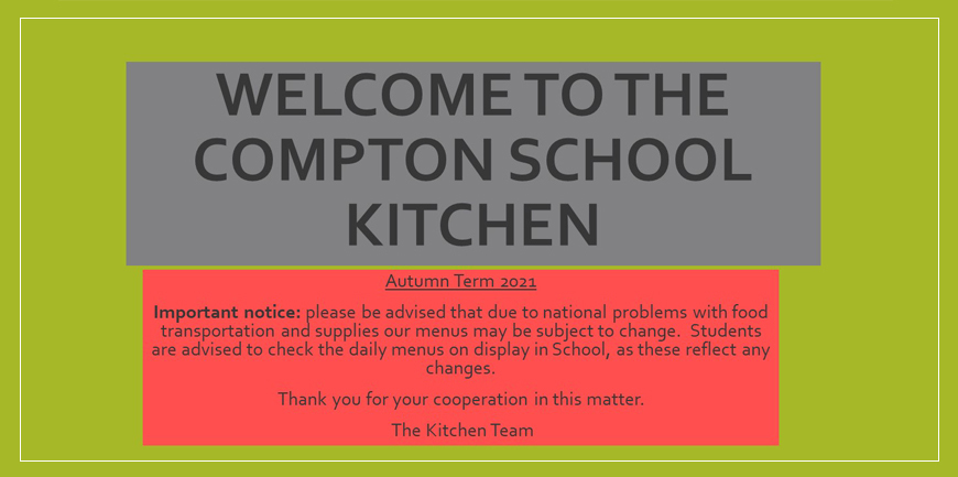 Welcome to The Compton School Kitchen