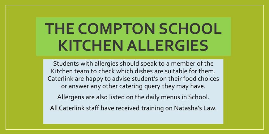 The compton school kitchen allergens notice